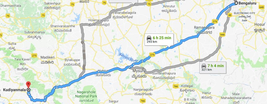 Bangalore to Kudiyanmala Paithalmala Kannur Distance Map